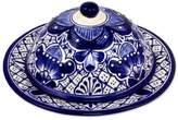 Talavera-Inspired Blue Covered Ceramic Cheese Plate, 'Blue Guanajuato'