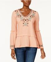Style&Co. Style & Co Embroidered Peplum Top, Created for Macy's