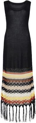 Wales Bonner Lucia Crochet Hem Linen Blend Sweater Dress