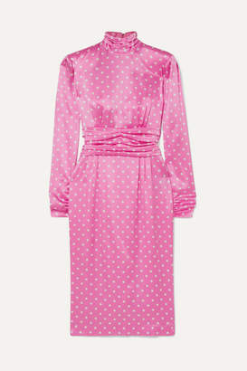 Alessandra Rich Gathered Polka-dot Silk-satin Midi Dress - Pink