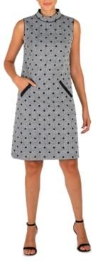 Donna Ricco Mock-Neck Ponte Pocket Dress