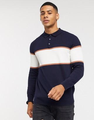 Burton Menswear long sleeve knitted polo in navy