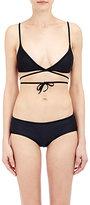YASMINE ESLAMI Women's Wrapover Bikini Top-BLACK