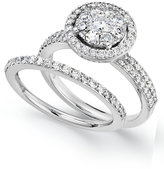 Macy's Diamond Engagement Ring and Wedding Band Ring in 14k White Gold (1-1/4 ct. t.w.)