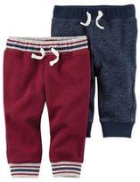 Carter's Size 3M 2-Pack Fleece Pant in Burgundy/Navy