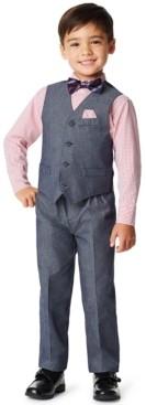 Nautica Little Boys Iridescent Twill 4 Piece Vest Set
