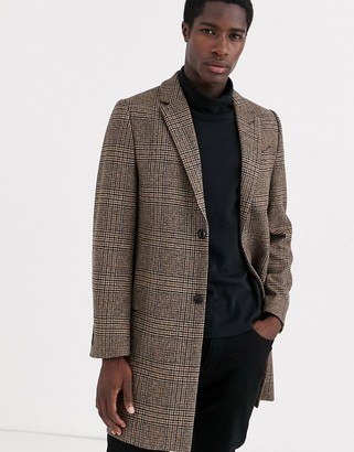 Ted Baker Italian wool overcoat in brown check