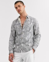 Asos Design DESIGN regular snakeskin shirt in gray