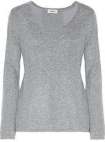 L'Agence Preston Paneled Stretch-Knit And Silk Crepe De Chine Sweater