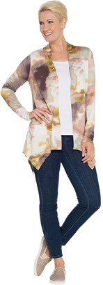 Logo by Lori Goldstein Knit Open Front Printed Cardigan