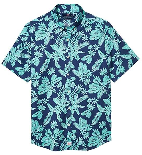 Tropical Paradise Leaves Mens Button Down Short Sleeve Shirt