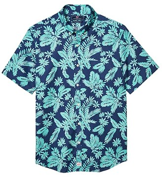Vineyard Vines Slim Fit Tropical Leaves Murray Short-Sleeve Button-Down Shirt (Antigua Green) Men's Clothing