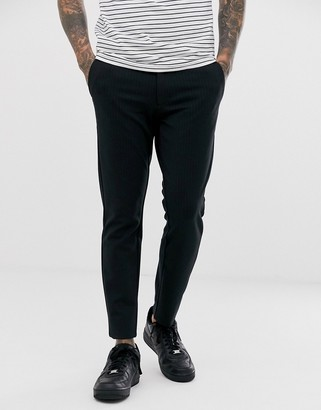 ONLY & SONS slim fit pinstripe smart trousers in black