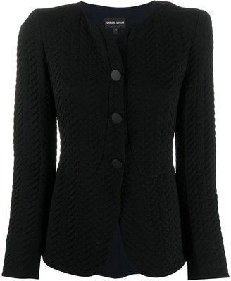 Giorgio Armani Textured Effect Button-Up Blazer