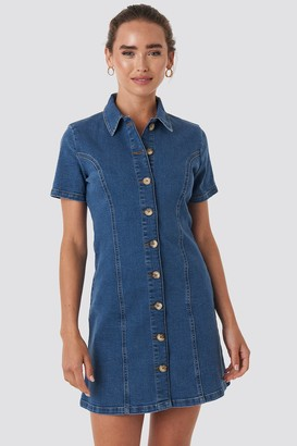 NA-KD Button Up Denim Mini Dress Blue