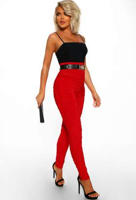 Pink Boutique Super Slinky Red Slinky Ruched Skinny Trousers