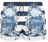Dolce & Gabbana Majolica and striped-print swim shorts