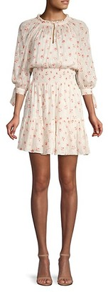 Rebecca Taylor Maui Clip Long-Sleeve Floral Dress