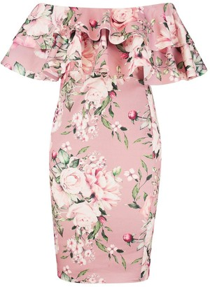 boohoo Plus Off Shoulder Floral Ruffle Midi Dress