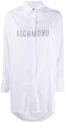 John Richmond Oversized Rhinestone Logo Shirt