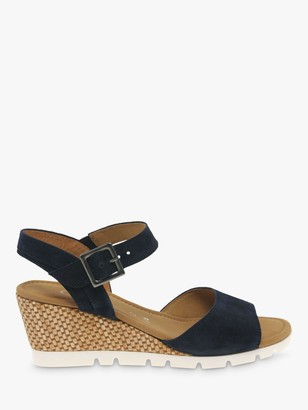 Gabor Nieve Wide Fit Leather Wedge Heel Sandals