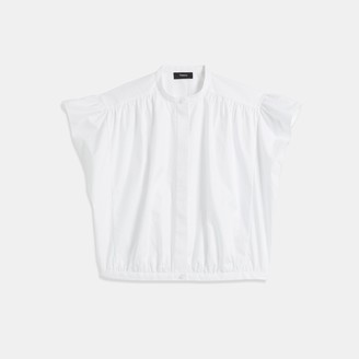 Theory Shirred Yoke Short-Sleeve Shirt