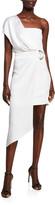 Cushnie Charmeuse & Cady One-Shoulder Asymmetric Dress