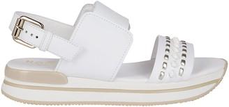 Hogan White Leather Flat Sandals