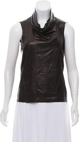 Celine Cowl Neck Leather Top