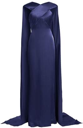 Zac Posen Cross Top Cape Detail Satin Crepe Gown