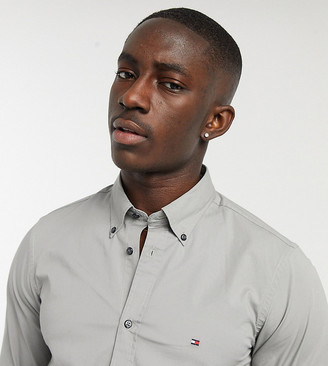 Tommy Hilfiger skinny fit shirt in charcoal Exclusive at ASOS