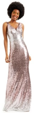 Crystal Doll Juniors' Ombre Sequin Gown