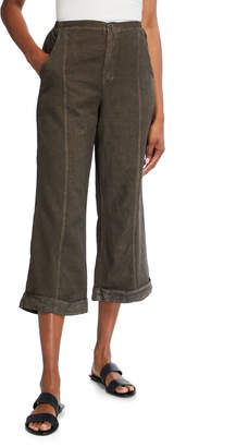 XCVI Bucolic Pinstriped Wide-Leg Linen Cropped Pants