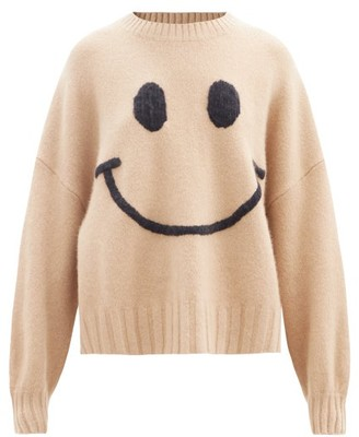 JoosTricot Smiling Face-embroidered Merino Wool-blend Sweater - Camel