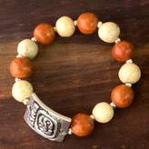 Ceramic Beaded Stretch Bracelet with Pewter Accent , 'Destiny's Path'