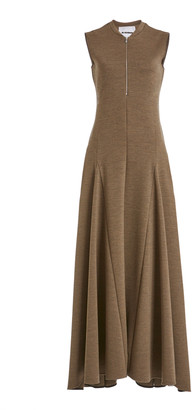 Jil Sander Nicole Zip-Detailed Wool Maxi Dress