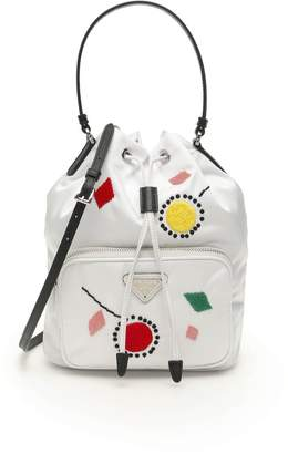 Prada Embroidery Mini Bucket Bag