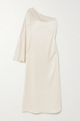 LA COLLECTION Maui One-sleeve Silk-satin Maxi Dress - Off-white