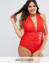 Asos Ruched Halter Swimsuit