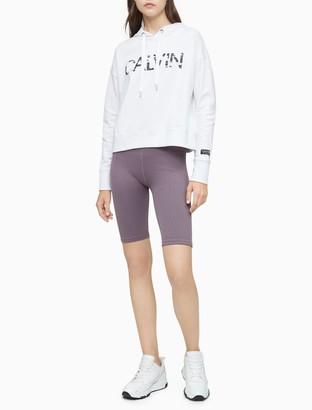Calvin Klein Performance Camo Logo Drawstring Cropped Hoodie