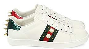 Gucci Women's New Ace Studded Web Leather Sneakers