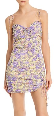 For Love & Lemons Maui Shirred Bodycon Mini Dress