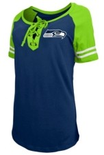 5th & Ocean Seattle Seahawks Women's Logo Lace Up T-Shirt