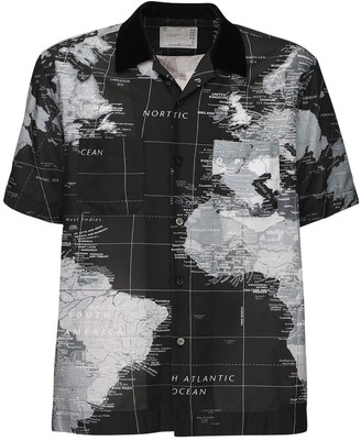 Sacai World Map Print Tech Shirt