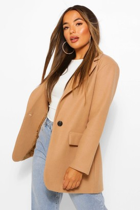 boohoo Petite Single Breasted Wool Look Coat