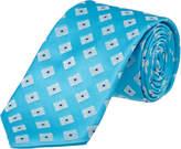 Ike Behar Turquoise Summer Squares Silk Tie