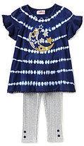 Flapdoodles Little Girls 2T-6X Moon Tie Dye Dress & Ribbed Leggings Set