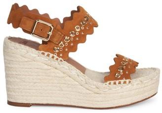 Chloé Lauren Grommet Suede Espadrille Platform Wedge Sandals