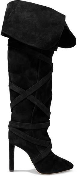 Saint Laurent Meurice Suede Knee Boots - Black