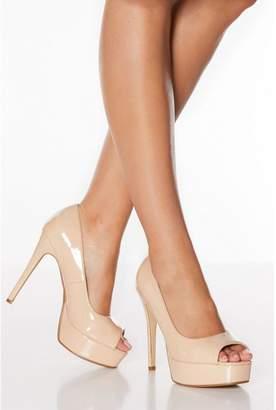 Quiz Nude Patent Peep Toe Platform High Heel Courts
